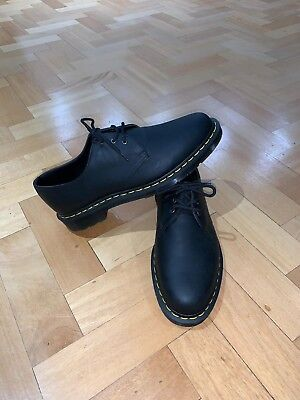 Dr Martens Black Smooth Leather Shoes Size 9 With Yellow Stitch