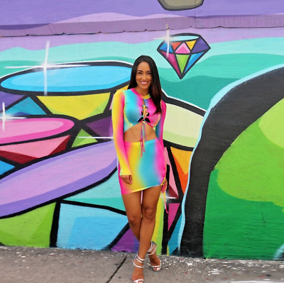 Fashionable sexy rainbow Skirt & TOP SET Long sleeves TWO PIECE rainbow PARTY