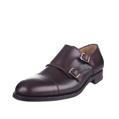 PEDRO DEL HIERRO Black Collection Leather Monk Strap Shoes Size 43 UK 9 Brown