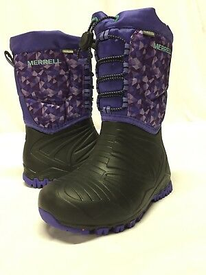 42c89f1f MERRELL GIRLS ML-GIRLS Snow Bank 2.0 Waterproof Lace Up Winter Boots ...