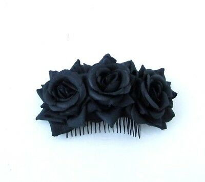 Triple Black Rose Flower Hair Comb Bridesmaid Fascinator Races Wedding Goth 6484