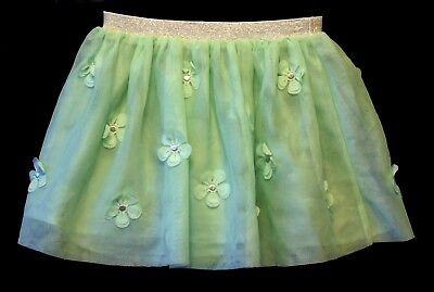Baby Girls H&M Light Green 3D Flowers Mesh Layered Party Skirt Age 18-24 Months