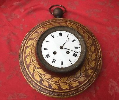 Rare  French Antique Tole Clock For Restoration Super Clock Silk Suspension