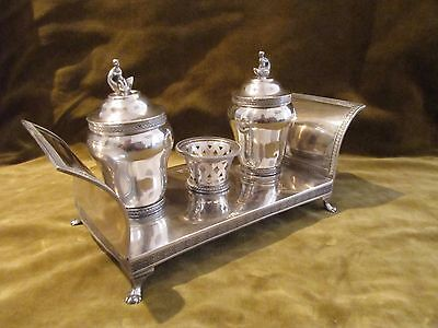 "Gorgeous & rare spanish silver double inkwell Madrid 1843 ""Couch"" empire st 829g"