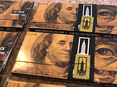 Empire Rolling Papers 1 Wallet (10 PAPERS) $100 Dollar Bills + Filter Tips