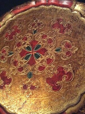 Vintage Hand Painted Indian Wooden Tray (33cm)