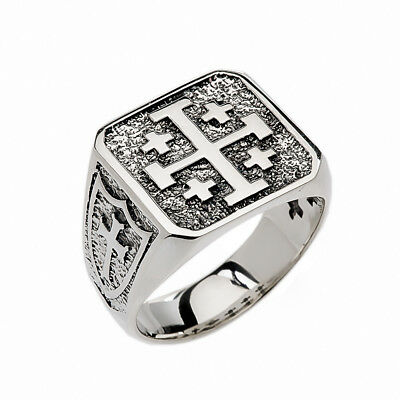 Sterling Silver Jerusalem Crusaders Cross Mens Bold Ring