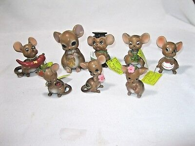 Lot of 8 Josef Originals Mouse Village Figurines, Some with tags, Japan