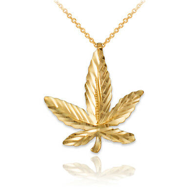 Cannabis Weed Pot Necklace Charm 10K Solid Yellow Gold Marijuana Leaf Pendant