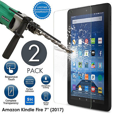 """2 PACK Tempered Glass Screen Protector For Amazon Fire 7"""" Alexa Version 2017"""