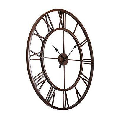 Large Wall Clock Metal Industrial Iron Vintage French Provincial Antique 47cm Z