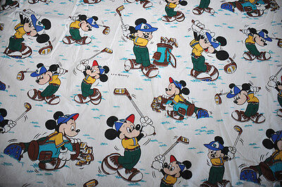 Disney CTI VINTAGE drap play Mickey fait du golf / Flat sheet TBE made in France
