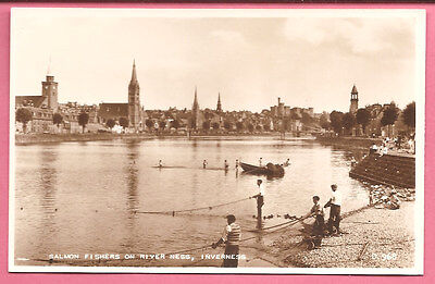 Salmon Fishers on River Ness, Inverness, Scotland postcard. Real Photo. Fishing.
