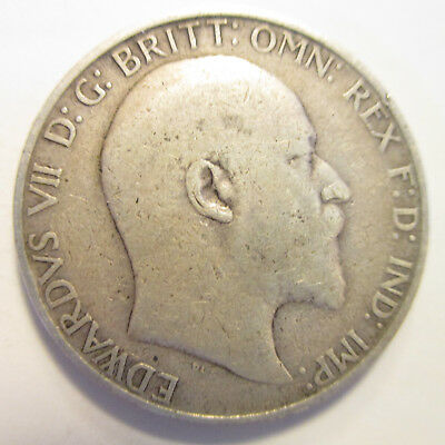 GB Edward VII 1908 Florin Sterling Silver 0.925 Good Condition FREE SHIPPING