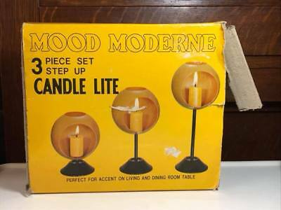 "Mid Century ""Mood Moderne"" Red Metal Orb Candle Holders "" New Old Stock"""