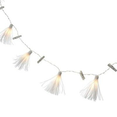 NEW Pottery Barn Teen Tassel Garland String Lights With Clips WHITE