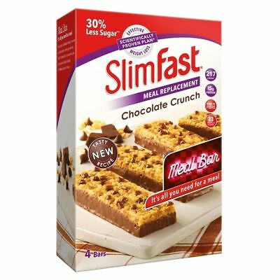 SlimFast Chocolate Crunch Bars Meal Replacement Weight Loss Diet Snack 16 x 60g