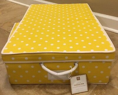 NEW Pottery Barn Teen Dottie Canvas Bin Under Bed YELLOW *Small Issue*