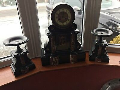 Antique Black Slate and Marble Clock Garniture Mougin movement c1870
