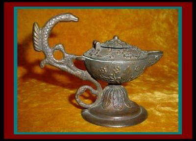 MAGNIFICENT Antique BRONZE Footed OIL LAMP with SEA SERPENT HANDLE