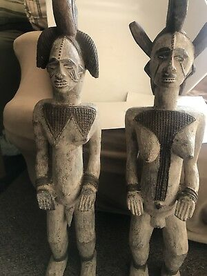 "Large African Ebo Tribe Statues 32"" & 31 1/2"