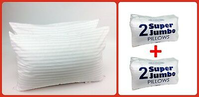 Large Jumbo Bounce Back Hotel QUALITY PILLOWS Big fluffy Padded Firm PACK of 4