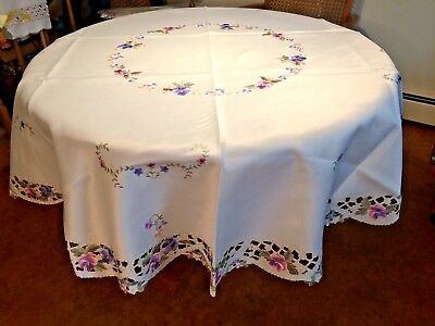 """68"""" Round Pansy Table Topper"""