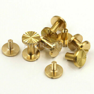 Solid Brass Chicago Screws Nail Leather Rivet Button Stud Binding Book Album