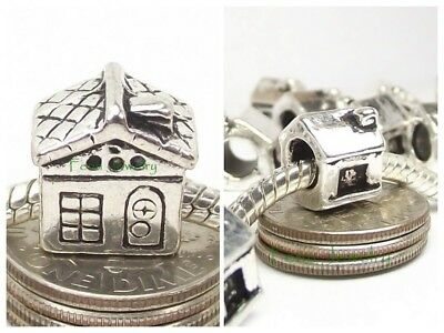 House Charm Silver Plated Home Cabin Add a Bead for European Charm Bracelet