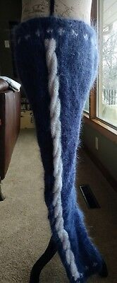 MOHAIR pants, Hand-knit, denim blue with white CABLE detail