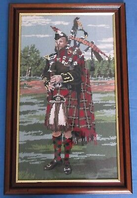 Vintage Highland Piper Scottish Bagpipes Tartan Wool Tapestry Picture Panel