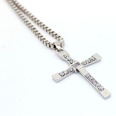 Unisex Silver Stainless Steel Fast & Furious Cross Pendant Metal Necklace Chain