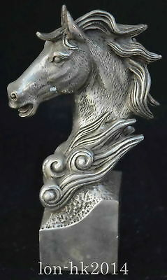 China Collectable Handwork Old Tibet Silver Martyr Horse Head Noble Rare Statue