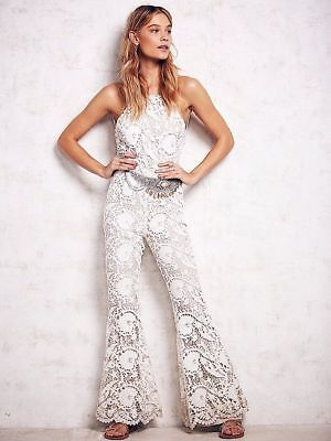 b335ea505462 NWT  450 Free People Stone Cold Fox White Dylan Lace Jumper Size 1 RARE  Jumpsuit