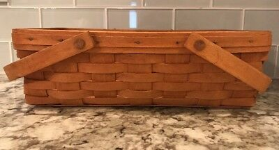 "1994 Longaberger 14"" Rectangle 2 Handle Gathering Basket Classic Natural Stain"