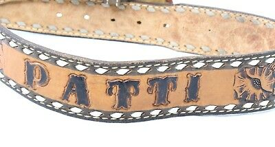 "Vintage Womens Belt Tooled Brown Leather sz 30 Name Patti Patty 4"" Buckle"