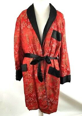 VINTAGE Medium Asian Robe Silky Red Black Belted Luxury Floral Chinese Japanese
