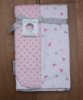 Blankets & Beyond Baby Girl Reversible Blanket ~ Hearts ~ Pink, White & Gray ~