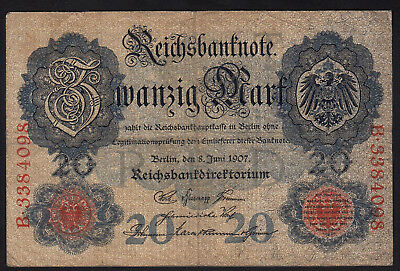 1907 20 Mark Germany Vintage Antique Rare Old Bill Paper Money Banknote Currency