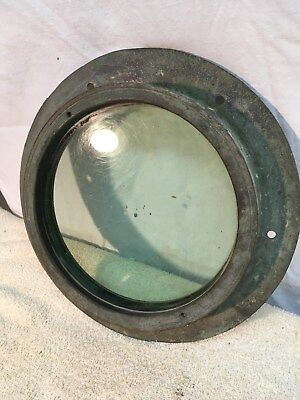 Vintage Solid Brass Thick  Glass Nautical Ship Boat Porthole Window 10 1/2""
