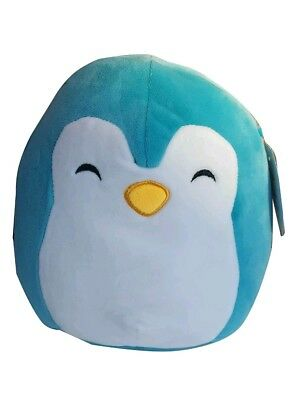 "Squishmallow Kellytoy 8"" Puff the Penguin Plush Toy Pillow Turquoise  Lovable"