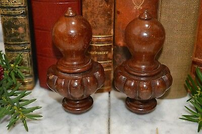 Antique Pair French Turned Wood Finials Drapery Cord Keepers Tassel Pulls 2 pc