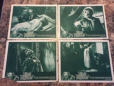 TOMB OF TORTURE 1966 HORROR FAMOUS MONSTER SET OF 4 LOBBY CARDS 11x14