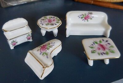 Miniature Ceramic Dollhouse Furniture Couch Piano Tables Dresser Floral Pattern
