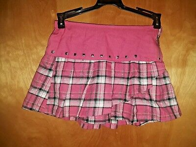 Justice Girls Pink Plaid Skorts with Bling & Metallic Size 8