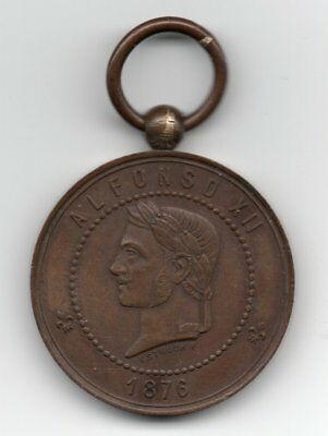 1876 Spanish Philippines Alfonso Xii Bronze Jolo Campaign Medal With Bale & Ring
