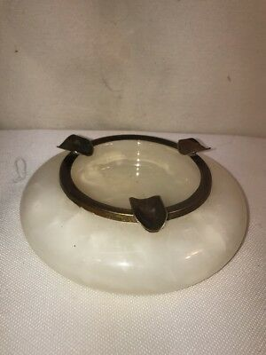 Vtg Alabaster White Marbled Brass Metal Ring Elegant Study WON'T TIP!! Ashtray