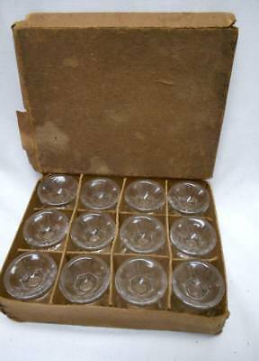 Set of 12 Antique Glass SALT DIP CELLAR with PEDESTAL base & ORG BOX