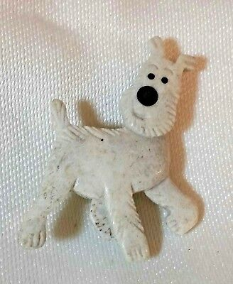 Vintage White Terrier Dog Puppy Plastic Brooch Lapel Hat Pin