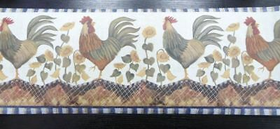 Rooster with Hen & Chicks Wallpaper Border Wall Decor Country Style Decorating